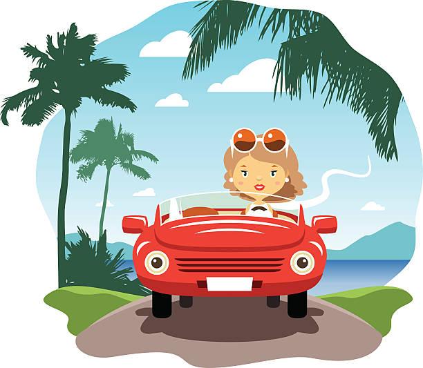 ilustrações, clipart, desenhos animados e ícones de jovem mulher dirigindo de férias - carro mulher