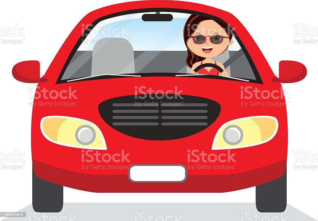 Young woman driving red car vector art illustration