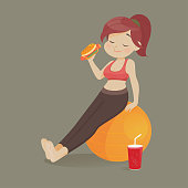 Young woman eating a piece of fast food, Women refuse to exercise, Vector illustration