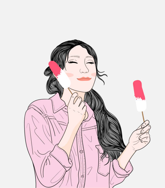 A young woman eating delicious ice cream outside the house.Doodle art concept,illustration painting vector art illustration