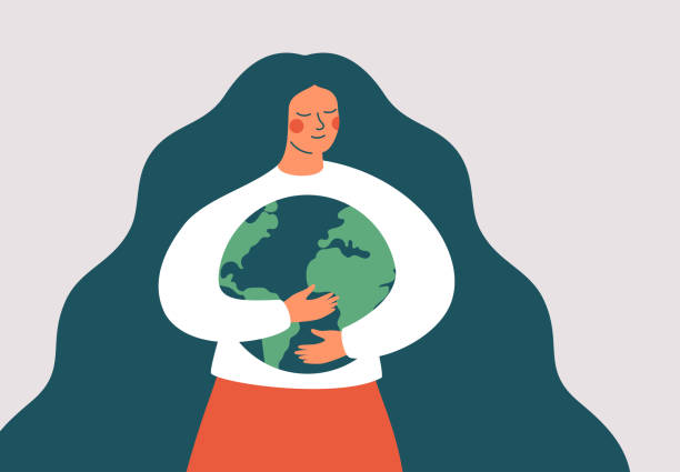 Young woman embraces green planet Earth with care and love. Young woman embraces green planet Earth with care and love. Vector illustration of Earth day and saving planet. Environment conservation and energy saving concept. earth day stock illustrations