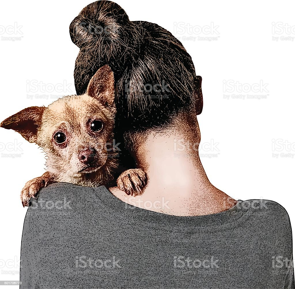 Young Woman Embracing A Vulnerable Puppy vector art illustration