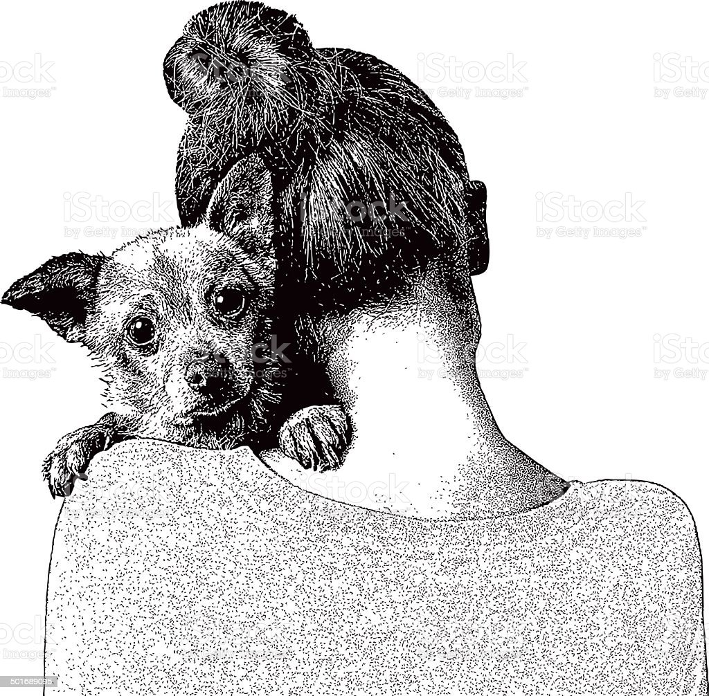 Young Woman Embracing Puppy vector art illustration