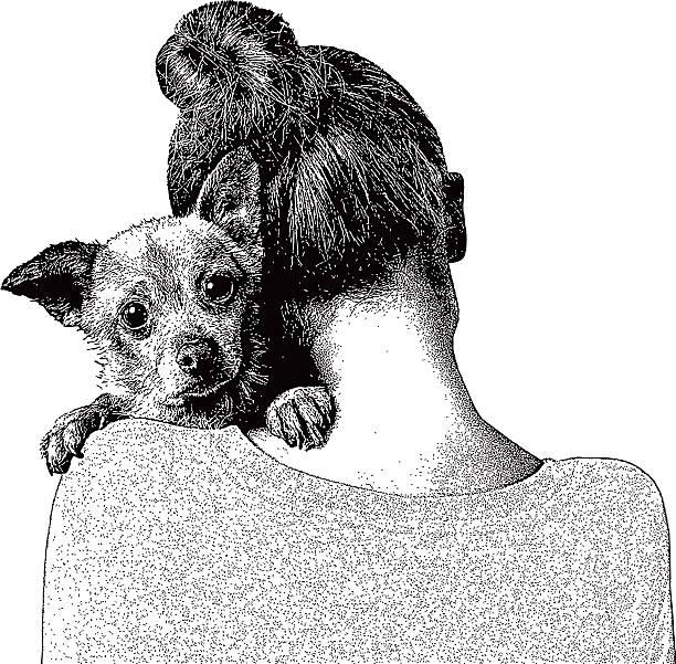illustrations, cliparts, dessins animés et icônes de jeune femme embrassant chiot - femme seule s'enlacer