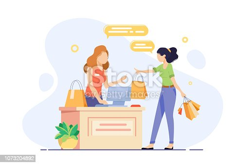 Young woman engaged in shopping and checkout her purchases. Concept girl seller, vendor, cashier with shopping bags at workplace. Vector illustration.