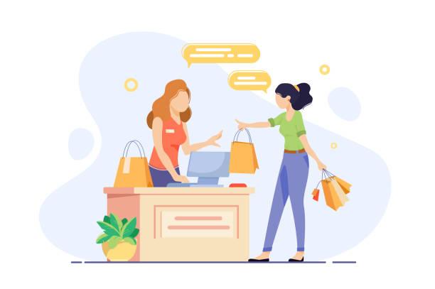젊은 여자는 그녀의 구매 쇼핑 체크 아웃에 종사. - 시장 소매점 stock illustrations