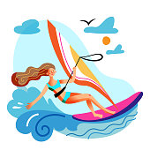 Young woman engaged in windsurfing in sea or ocean. Girl with flying hair standing on board with sail moving through wave. Extreme water sport and entertainment on summer vacation. Vector illustration