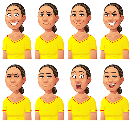 Young Woman Expressing Different Emotions