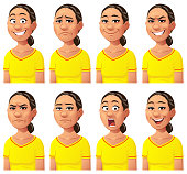Vector illustration of a young woman with eight different facial expressions: smiling, smirking, laughing, neutral, anxious/sad, angry, screaming, and surprised. Portraits perfectly match each other and can be easily used for facial animation by simply putting them in layers on top of each other.
