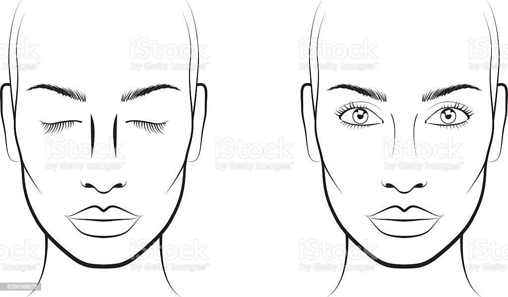 young woman face chart makeup artist blank template stock