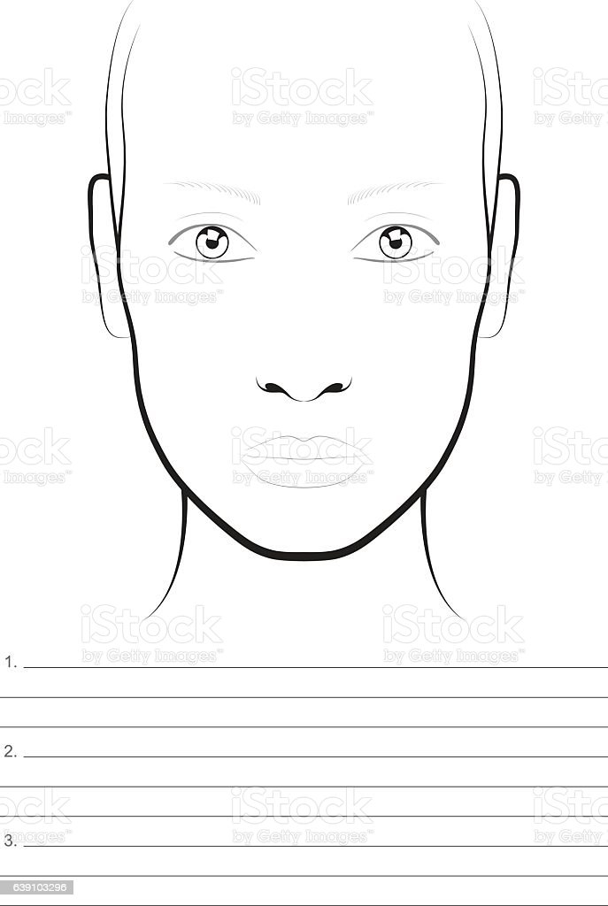 Young Woman Face Chart Makeup Artist Blank Template Stock Vector Art ...