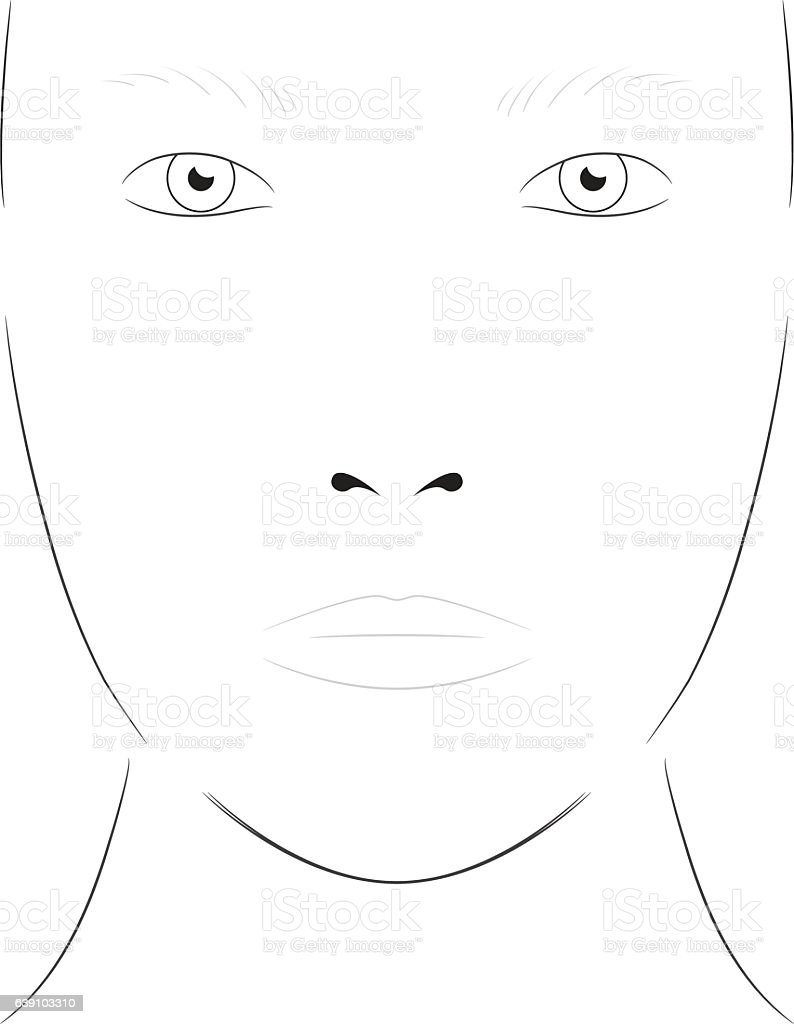 Young woman face chart makeup artist blank template stock vector art face chart makeup artist blank template royalty free young woman maxwellsz