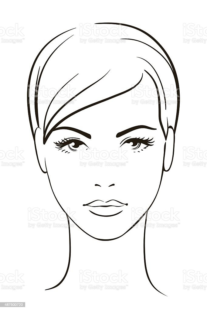 Line Drawing Of Human Face : Young woman face stock vector art more images of