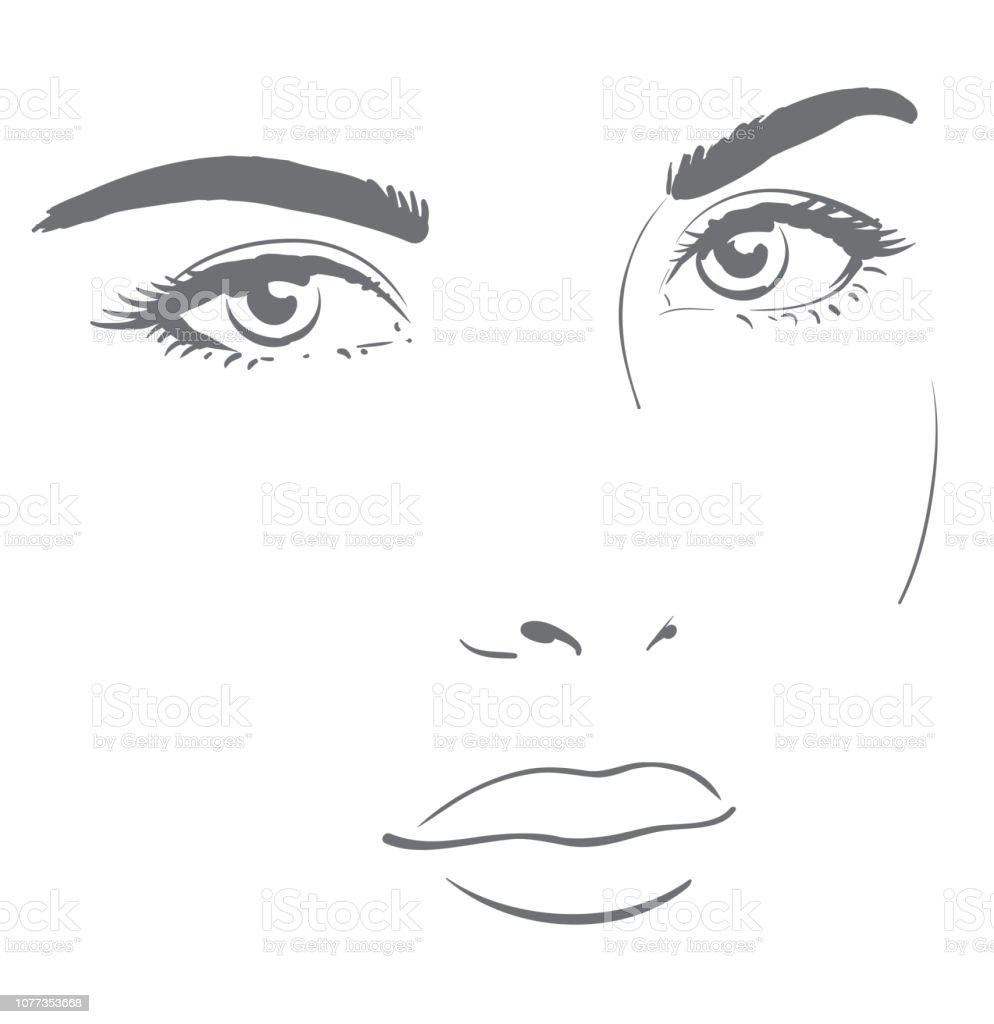Young woman face with friendly look easy graphic drawing royalty free young woman face