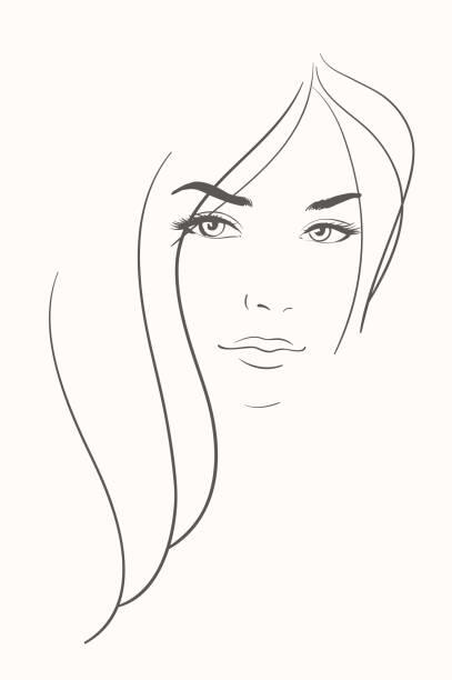 Gesicht der jungen Frau mit langen blonden Haaren – Vektorgrafik