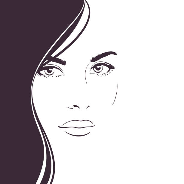 Young woman face with long dark hair. Contrast black and white composition for design of an advertising banner Young woman face with long dark hair. Contrast black and white composition for design of an advertising banner beautiful woman stock illustrations