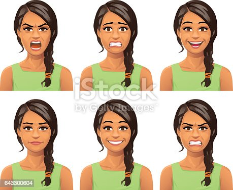 Vector illustration of a young woman with a braid, with six different facial expressions: laughing, smiling, angry, furious, anxious and neutral.