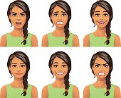 Young Woman Facial Expressions