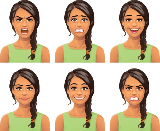 Young Woman Facial Expressions Vector illustration of a young woman with a braid, with six different facial expressions: laughing, smiling, angry, furious, anxious and neutral. displeased stock illustrations