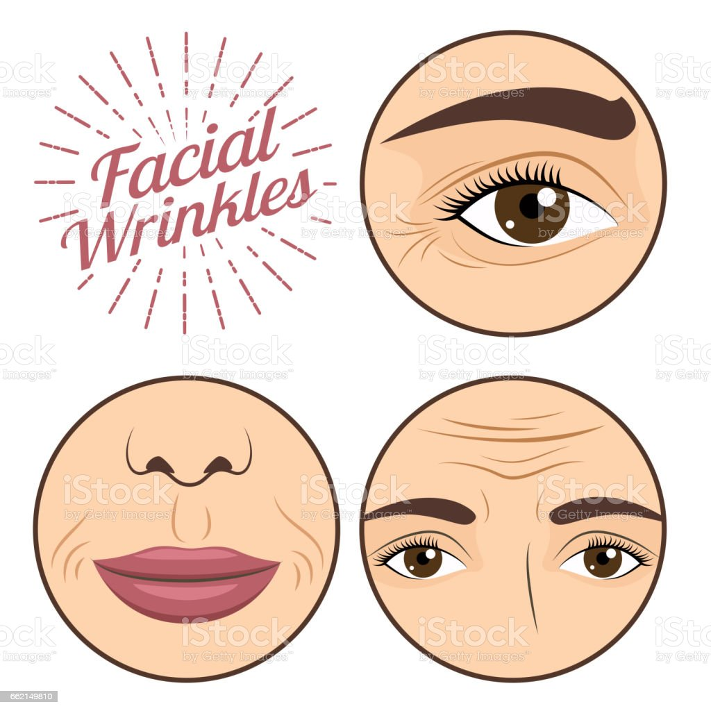 Young woman facial wrinkles troubles for anti wrinkle process cream vector illustration vector art illustration