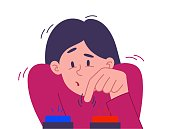 Young woman facing a dilemma with her finger hovering over two buttons undecided which to push, colored vector illustration