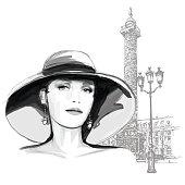 "Young woman fashion model ""place Vendome"" in Paris - Vector illustration"