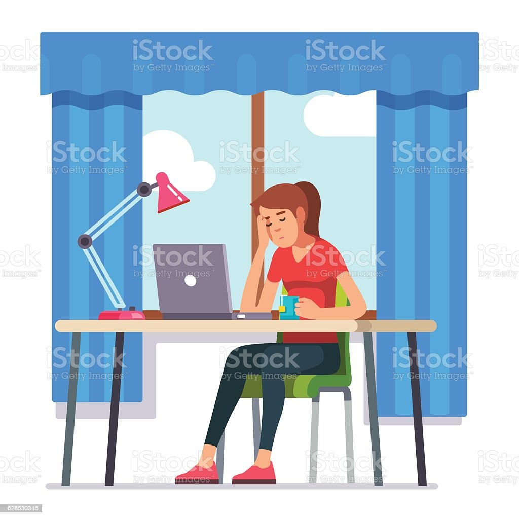 Young woman fell asleep working on laptop computer vector art illustration