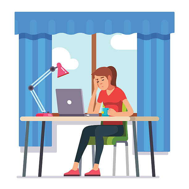 Young woman fell asleep working on laptop computer Young woman fell asleep working on laptop computer at her home office working desk. Flat style color modern vector illustration. tired woman stock illustrations