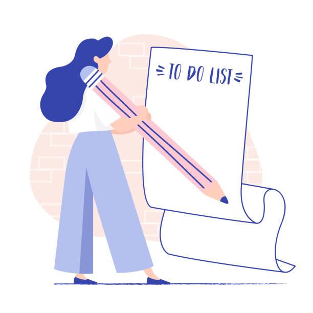 illustrazioni stock, clip art, cartoni animati e icone di tendenza di giovane donna che riempie lungo biglietto di carta con lista di cose da fare e matita gigante. pianificazione, gestione progetti, brainstorming. - to do list