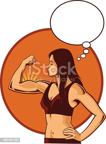 Young Woman Flexing Her Muscle - Speech Balloon