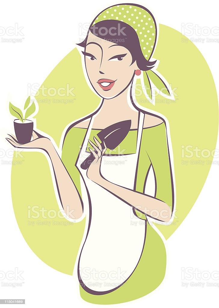Young woman gardening royalty-free stock vector art