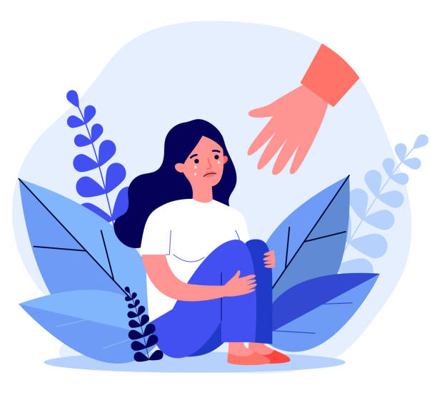 Young woman getting help and cure from stress Young woman getting help and cure from stress flat vector illustration. Girl feeling anxiety and loneliness. Helping hand. Psychotherapy, counseling and psychological support concept. grief stock illustrations
