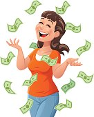 Money raining down on a happy young woman, isolated on white. Vector illustration. Concept for luck, wealth, richness and financial success.