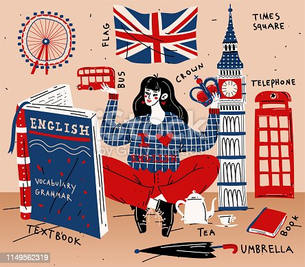 istock Young woman girl student learning english. Education, foreign language 1149562319