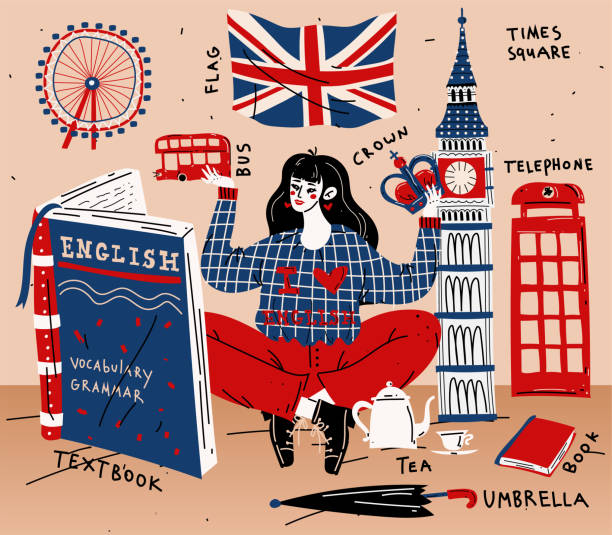 junge studentinnen lernen englisch. bildung, fremdsprache - england stock-grafiken, -clipart, -cartoons und -symbole