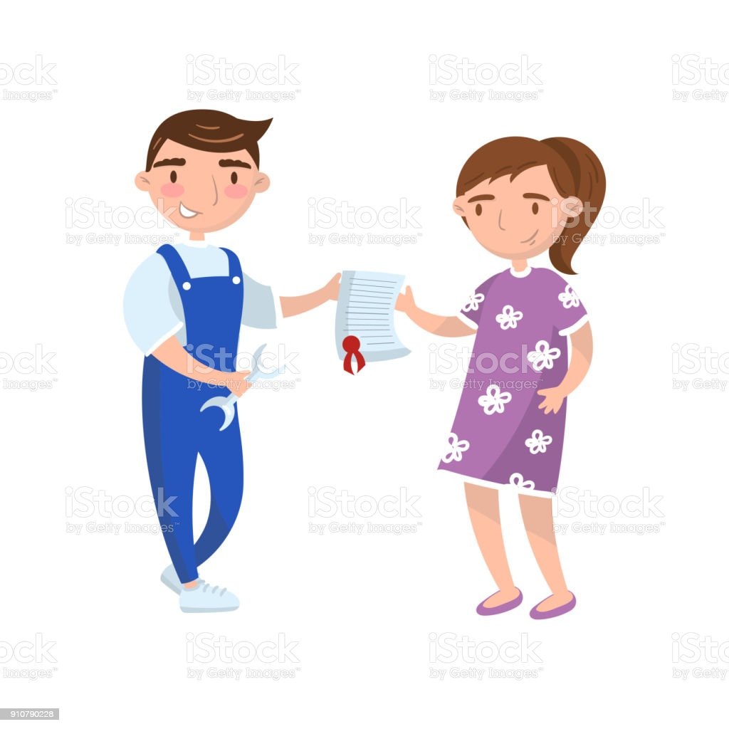 Young Woman Giving Documet To Auto Mechanic Worker Car Insurance Concept Auto Diagnostics Service Cartoon Vector Illustration Stock Illustration Download Image Now Istock