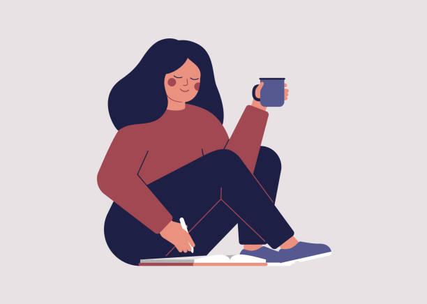 年輕女子在早上翻閱她的約會簿,並計畫她的一天 - 鄉愁 幅插畫檔、美工圖案、卡通及圖標