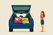 Young woman going on a trip by car and thinking in the open trunk with things. Vector flat style illustration.