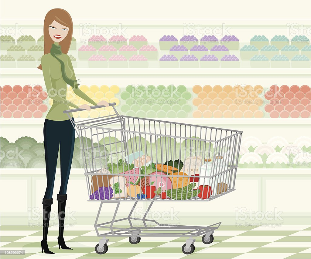 Young Woman Grocery Shopping Through Produce Aisle royalty-free stock vector art