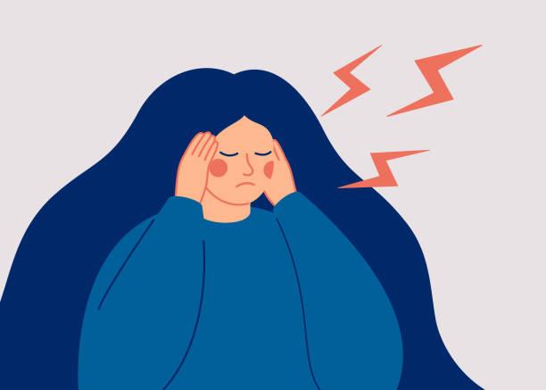 stockillustraties, clipart, cartoons en iconen met de jonge vrouw heeft een vreselijke hoofdpijn - jonge vrouw