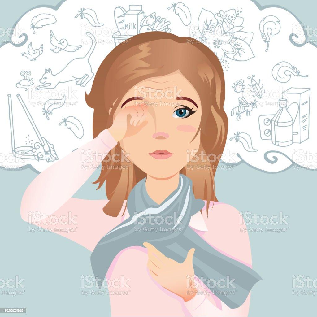 Junge Frau hat eine Allergie, juckende Augen, rote Augen. Allergisch gegen Staub, Pollen, Tiere, Medikamente, Lebensmittel und Insekten. – Vektorgrafik