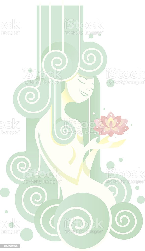 Young woman having a beneficial shower royalty-free stock vector art