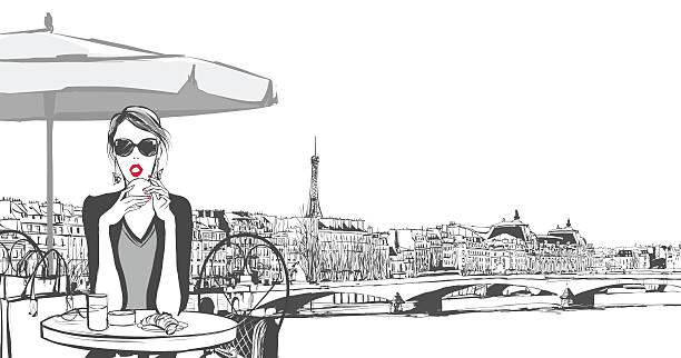 ilustrações, clipart, desenhos animados e ícones de jovem mulher tomando café da manhã em paris - moda parisiense