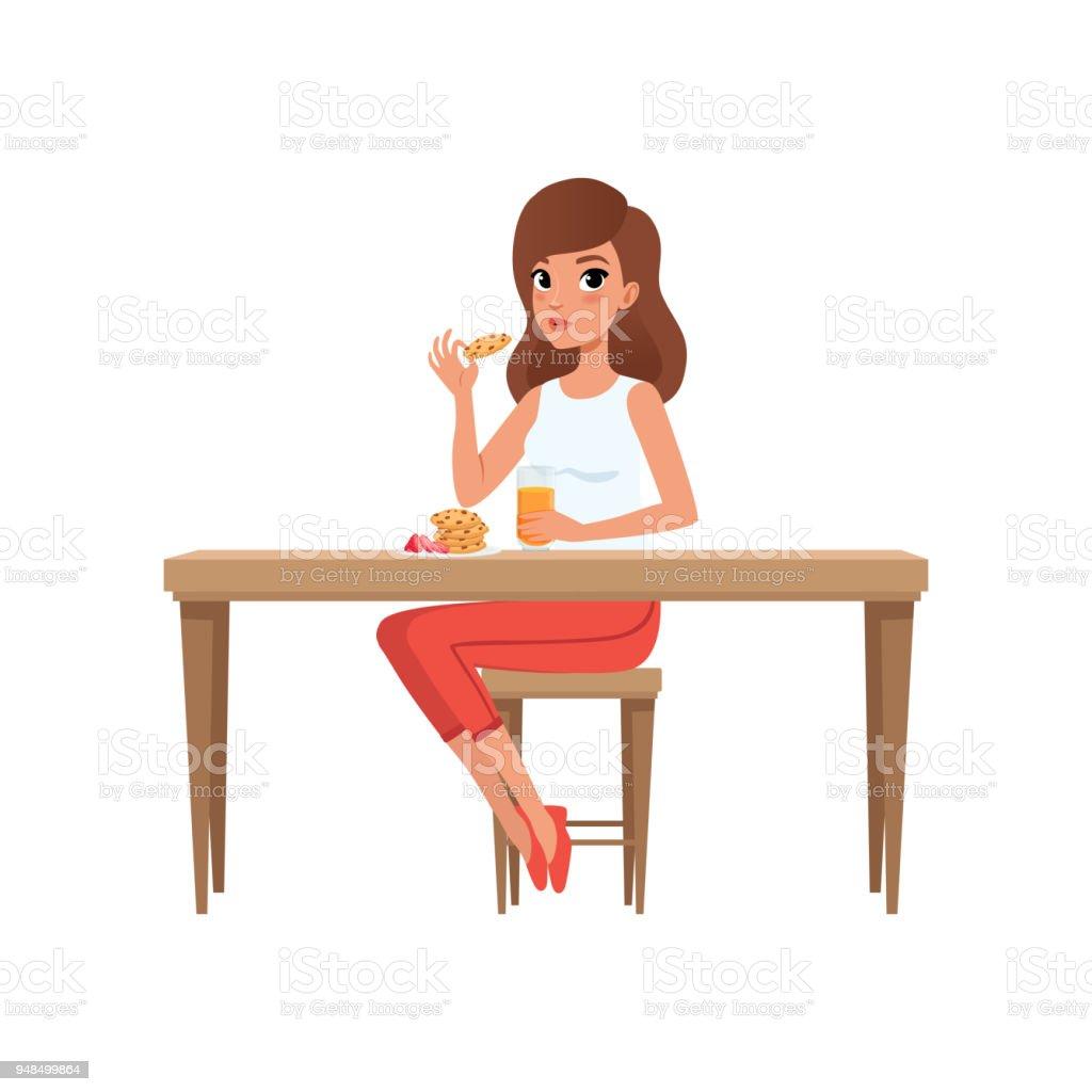 Junge Frau, die ihr Frühstück, Menschen Aktivität, tägliche Routine Vektor Illustration auf weißem Hintergrund – Vektorgrafik