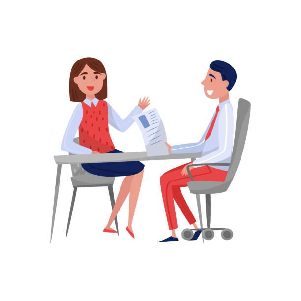 bildbanksillustrationer, clip art samt tecknat material och ikoner med ung kvinna att ha jobb intervju med hr specialist, arbetssökande och arbetsgivare sitter vid bordet och pratar vektor illustration på vit bakgrund - job interview