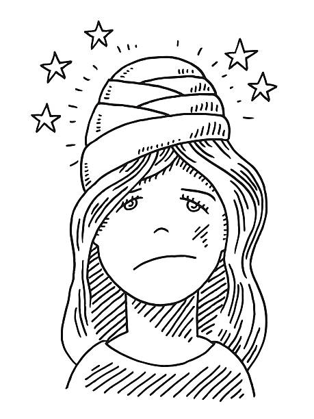 Young Woman Head Injury Drawing Hand-drawn vector drawing of a Young Woman suffering from a Head Injury. Black-and-White sketch on a transparent background (.eps-file). Included files are EPS (v10) and Hi-Res JPG. women stock illustrations