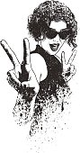Cute hipster young woman giving the peace sign gesture