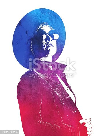 Mezzotint illustration of a Young woman hipster Looking for the way forward. Wearing a denim jacket, jeans, hat and sunglasses.