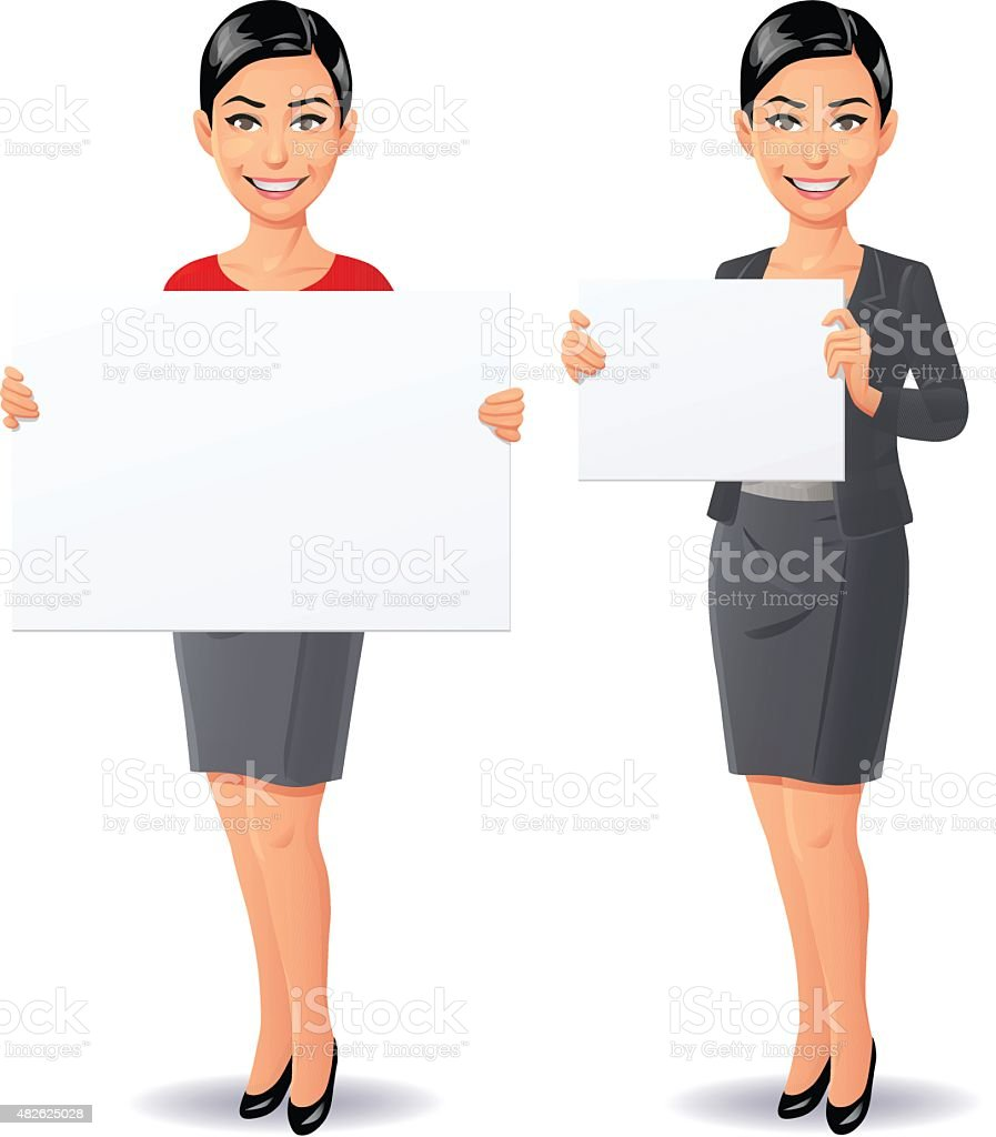 Young Woman Holding A Blank Sign vector art illustration