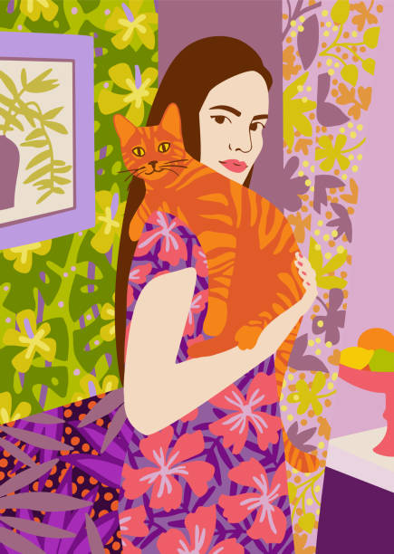 Young woman holding a cat in bright decorated interior. Adorable young woman holding a cat in bright decorated interior. Portrait of pet owner. Flat vector illustration. one young woman only stock illustrations